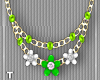 LimeWhiteFlower Necklace