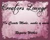 Creators Lounge sign
