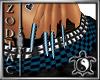 Blue Check Long Nails