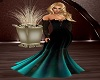 Blk nTeal Fishtail Gown