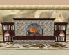 Stone fireplace w/books