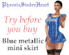 Blue metallic mini skirt