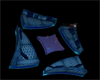 Blue neon couch set