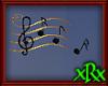 Music Note Decor Blk/Gld