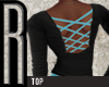 [R] blue laced back top