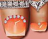 Feet Silver Rings Orange
