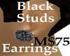 Earrings Black Studs