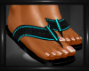 Blk Turquoise Flip Flops