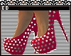 *E* Red Spiked Pumps