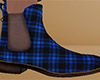 Blue Ankle Boots Plaid M