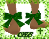 Grn glitter ankle bows