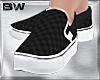 Black Chess Slip Shoes