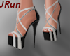 Strappy Wht & Blk Heels