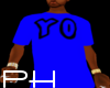 YO- blue t-shirt