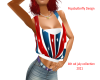 red ,white and blue top