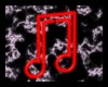 Neon Red Music Notes
