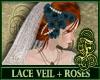 Lace Veil + Blue Roses