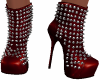 Red Spike/Stud Boots