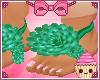 ! Green Flower Flat Feet