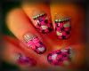 plaid hello kitty nails