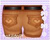 Brown HeartPocket Shorts