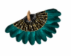 Dance Fan Teal Gold