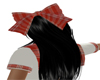 Hair Bow Red/White