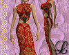 Red brocade dress