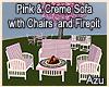Pnk & Crm Patio Sofa Set