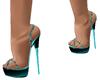 teal/blk sandals