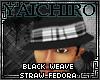 Black Weave Straw Fedora
