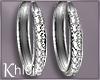 K silver diamond hoops