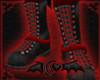 Black Red Leather Boots