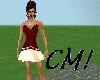 CM! Deep red dress short