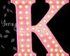 Pink Wood Letter K