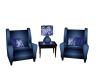Blue Asian Coffee Chairs