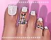 White Glitter toes