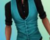 Turquoise Vest/ BlkShirt