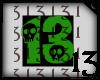 13 Skull Green Drk BlkBG