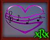 Music Note Heart Blk/Prp