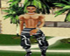 male silk blk/white pant