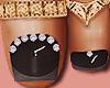 Feet Gold Rings Black
