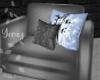 Bamboo Gray & Blue Sofa