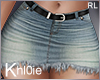 K jean skirt blk belt RL