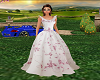pink & white floral gown