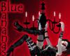 black red chandelier