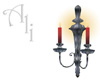 Pewter Wall Sconce red