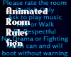 Animated Room Rules sign