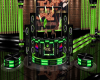 green neon kiss dj booth
