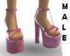 [W]Pink Silk Heels male
